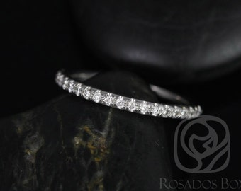 Rosados Box 14kt White Gold Matching Band to Eva/Elizabeth 8x6mm Glitter Pave Diamonds HALFWAY Band