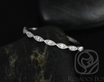 Rosados Box Ultra Petite Leah 14kt White Gold Vintage WITH Hand Milgrain Diamonds HALFWAY Eternity Band
