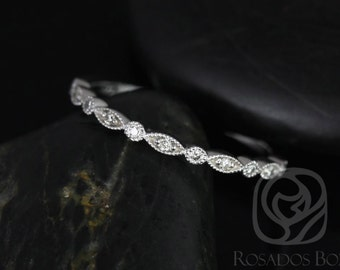 Ultra Petite Bead & Eye 14kt White Gold Vintage WITH Hand Milgrain Diamonds HALFWAY Eternity Band (Available in other metals)