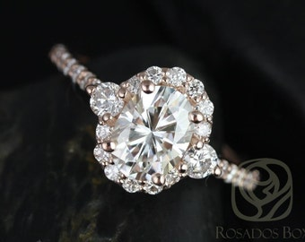 Bridgette 8x6mm 14kt Rose Gold Oval FB Moissanite and Diamonds Halo Engagement Ring (Other metals and stone options available)