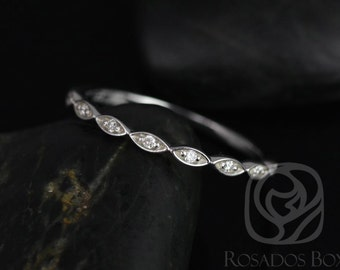 Ultra Petite Leah 14kt White Gold Vintage WITHOUT Hand Milgrain Diamonds HALFWAY Eternity Band (Available in other metals)