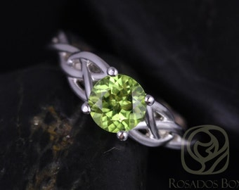 Rosados Box Cassidy 6mm 14kt White Gold Round Peridot Celtic Knot Engagement Ring