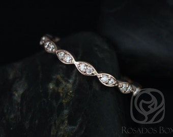 Rosados Box 14kt Matching Band to Christie/Katya/Sunny/Samantha WITHOUT Milgrain Diamond Leaves ALMOST Eternity Band