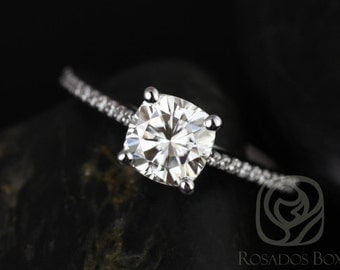 Marcelle 6.5mm 14kt White Gold Cushion F1- Moissanite and Diamonds Cathedral Engagement Ring (Other metals and stones available)