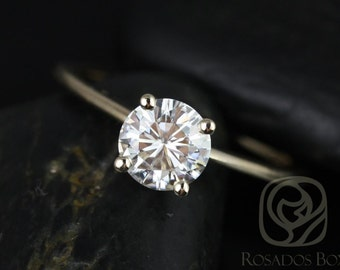 Rosados Box Skinny Alberta 6.5mm 14kt Yellow Gold Round F1- Moissanite Tulip Solitaire Engagement Ring