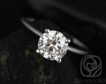 Rosados Box Skinny Alberta 7.5mm 14kt White Gold Round F1- Moissanite Tulip Solitaire Engagement Ring