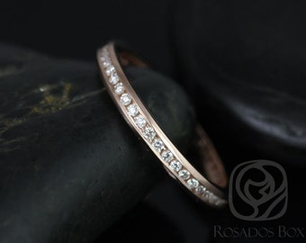 Martha 14kt Thin Rose Gold Channel Set Round Diamonds FULL Eternity Band (Other metal and stone options availailable upon request)