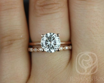 Skinny Alberta 8mm & Ultra Petite Bead Eye 14kt Rose Gold Round F1- Moissanite Wedding Set (Other metals and stone options available)