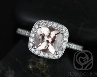 Rosados Box Hollie 7mm Platinum Cushion Morganite and Diamond Halo Engagement Ring