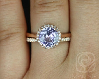 Rosados Box Ready to Ship Shannon 2.43cts 14kt Rose Gold Round Pastel Grape Sapphire and Diamonds Extra Low Halo Wedding Set