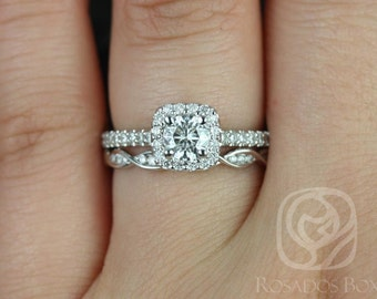 Mikena 5mm & Ember 14kt White Gold Round F1- Moissanite and Diamonds Cushion Halo Wedding Set (Other metals and stone options available)