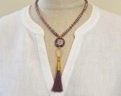 Elegant dusty lavender pearl necklace Venetian glass and tassel pendant Purple silk tassel necklace Pearl tassel necklace Boho jewelry