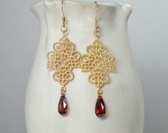 Fancy gold filigree chandelier earrings Medieval Renaissance jewelry Gold earrings CZ crystal drop earrings Red cubic zirconia earring
