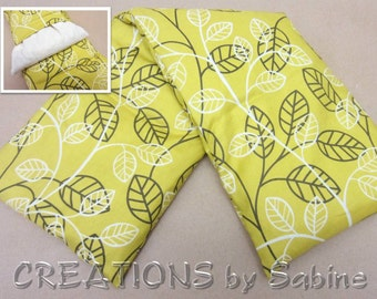 Corn Heating Cold Pack, Microwave with washable cover Therapy Spa yellow white green natural leaves simple nature READY TO SHIP (294)