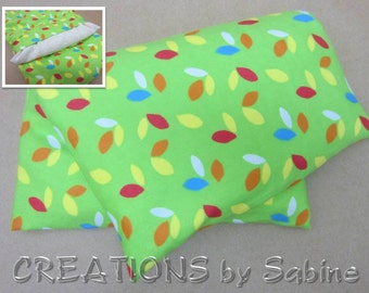 Heating Pad Microwavable Corn Pillow Pack washable cover therapy pad green leaves colorful flannel Heat Therapy / READY TO SHIP (420)