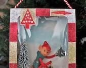 Vintage Christmas Elf Diorama, Shadow Box