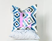 Kensington ikat alphabet cushion cover - fuchsia