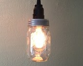 Ball Jar Pendant Light - Mason Jar Light - Hanging Mason Jar Hanging Pendant Light - Clear Pint - Swag Light