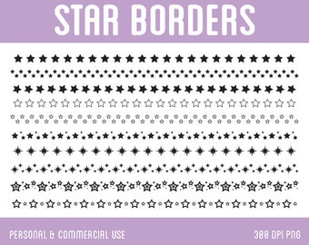 Star Borders Clip Art - Digital Clipart for Personal & Commercial Use