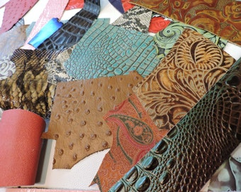 Embossed Scrap Leather Pieces. Assorted Leather. Assorted Printed Leather 1lb Bag #911-911