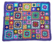Crochet baby blanket crochet baby afghan handmade granny square afghan 30 in. x 38 in. lavender border MADE TO ORDER