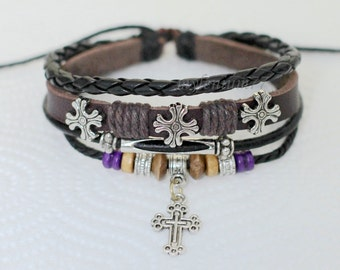 441 Men's brown leather bracelet Cross bracelet Charm bracelet Men bracelet Christian bracelet Religious jewelry Gift for men and women