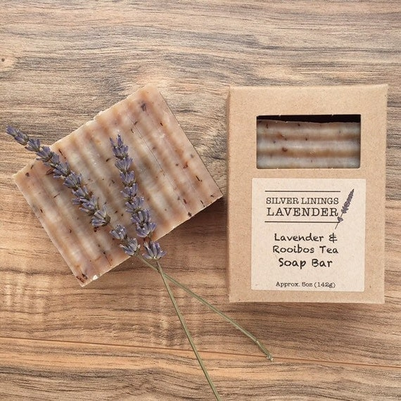 All Natural Lavender & Rooibos Tea Bar Soap / Herbal Soap / Aromatherapy Soap / Soap for Tea Lovers / Gift for Mom / All Natural Soap Bar