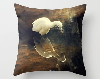 Egret Pillow - Wildlife home decor, white bird, reflection, nature, gold, yellow, brown cushion cover