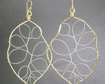 Hammered leaf earrings gold fill, rose gold, silver Bohemian 94