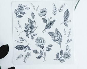 """Floral Temporary Tattoo Bundle Detail Mini Tattoos  5"""" x 5"""""""