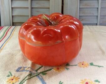 Vintage Painted Milkglass Orange Tomato Pumpkin Sugar Bowl Jam Jelly Covered Dish Retro Kitchen Farmhouse Cottage Country Home Decor