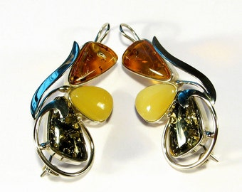 Handmade Genuine Baltic  Amber earrings!