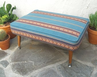 Mid Century Modern Ottoman Blue Ottoman Southwestern Striped Footstool Serape Striped Stool Bohemian Decor Man Cave Upholstered Ottoman