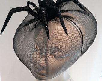 Spider Fascinator- Halloween-Black widow Headband-Spider Costume- spider birdcage fascinator-Made in USA-Halloween costume