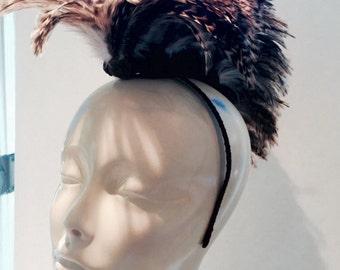 Burning man headpiece- Feather headband/ Vintage & feather headband- headpiece -Worrier Headdress- mohawk- tribal.