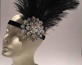 1920s Head Wrap-  Great Gatsby Headdress-Flapper- Gatsby- 1920s Hair Accessory- Flapper- Handmade- 20s Headpiece- Jazz Age Headdress
