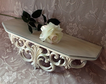 Vintage Wall Shelf Bed Crown Antique White Shabby Cottge Farmhouse Victorian