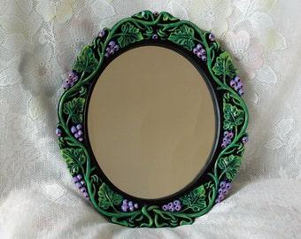 Vintage Oval Accent Mirror Hand Painted Black Lacquer Plaster Frame Vivid Green Purple Accents  - Grapevine Motif - Art Nouveau Style