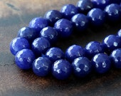Faceted Jade Beads, Lapis Blue, 8mm Round - 15 Inch Strand - eJFR-B25-8