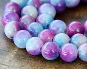 Mountain Jade Beads, Light Blue and Magenta Mix, 10mm Round - 15 Inch Strand - eMCJ-519-10