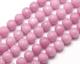Faceted Jade Beads, Rose Pink, 8mm Round - 15 Inch Strand - eJFR-P02a-8