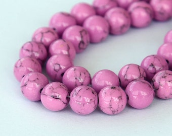 Magnesite Beads, Orchid Pink, 10mm Round - 15 inch Strand - eGR-MG017-10