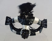 Reign of Devils Masquerade Mask Steampunk Feather Accented White and Black silky Beaded Half Face Asymetrical Fabric Burlesque Halloween