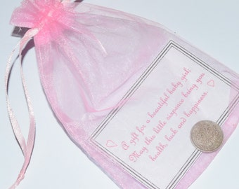 Baby Lucky Sixpence.  Good Luck Charm.  New Baby Girl gift.  With choice of printed matt laminated verse and organza bag.
