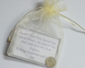 Lucky Sixpence-Genuine British Sixpence Coin. Good Luck Charm. Original Gift for Luck. Matt laminated printed verse and organza bag.