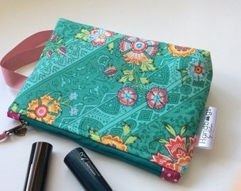 Turquoise and pink cosmetic bag in Amy Butler fabric