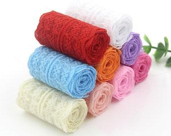Sweet Colorful Lace Accessories/Dress Fabric Ribbon/DIY Creative Handmade Transparent Nylon Lace Tape Art/1M''PCS