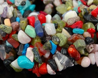 Natural Randomly Mixed Gemstone 5-8mm Freeformed Chip Beads 35''  Great For Jewelry Design