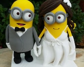 Minions wedding cake topper clay doll, Minion in suit clay miniature,Minion in wedding dress clay figurine,engagement decoration,ring holder