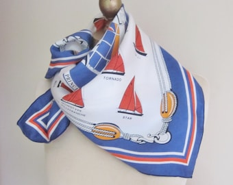 French  scarf nautical vintage scarf, square, jauge, sailing ships, summer scarves, 1970s fashion
